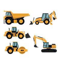 conjunto de maquinaria pesada de construcción y minería. vector