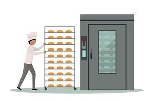 panadero llevando una rejilla llena de pan a un horno industrial.