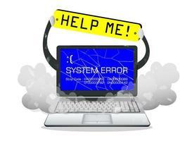 Pantalla de error de computadora portátil rota con banner de ayuda vector