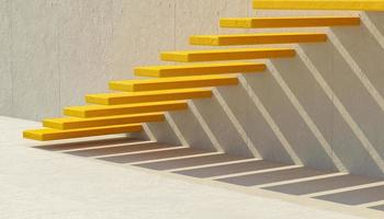 Abstract yellow cement stairs on gray wall with aligned shadow, 3d rendering