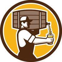 camarero, proceso de llevar, barril, verter cerveza, círculo, retro vector