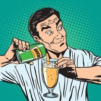 camarero vierte cerveza vector