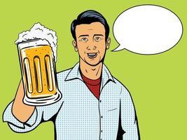 El hombre ofrece la ilustración del vector del estilo del arte pop de la taza de cerveza. imitación de estilo cómic