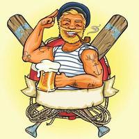 man with beer vector design