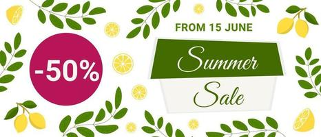 Summer sale banner with lemons and leaves. Citrus fruit design. Perfect for banners, flyers, invitations, posters, web sites or greeting cards. vector