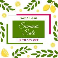 Summer sale banner with lemons and leaves. Fruit design. Perfect for banners, flyers, invitations, posters, web sites or greeting cards. vector