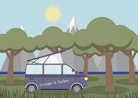 Caravan in a forest. Local summer vacation. Concept vector illustration.