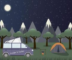 Caravan in a forest at night. Local summer vacation. Concept vector illustration.