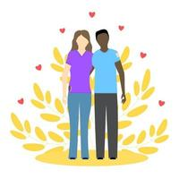 African man and european woman in love. Romantic couple. Concept vector illustration.