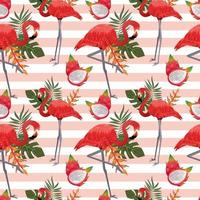 tropical seamless pattern with flamingos vector