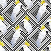 tropical seamless pattern with birds vector