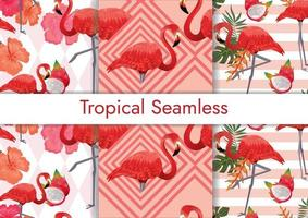 tropical seamless pattern set with flamingos vector