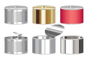 juego de caja de comida enlatada de cilindro de acero vector