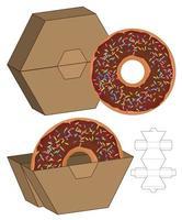 Donut Food Box packaging die cut template design. vector