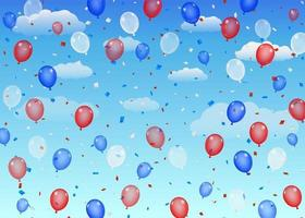 group of red blue white helium balloons on a sky