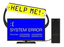 Pantalla de error de computadora de escritorio rota con banner de ayuda vector