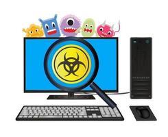 computadora de escritorio con escaneo informático de virus vector