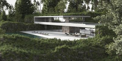 Minimalist modern house with pool photo