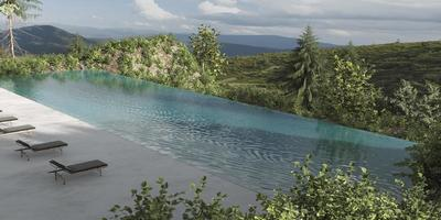Modern pool with a view photo