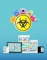 virus infectados en teléfonos inteligentes y tabletas vector