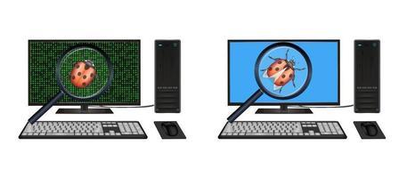 desktop computer found bugs vector