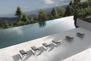 Infinity pool with a mountain view photo