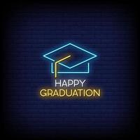 Happy Graduation Neon Signs Style Text Vector