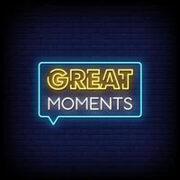 Great Moments Neon Signs Style Text Vector