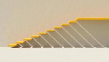 Escaleras minimalistas amarillas en la pared de cemento gris, render 3d foto