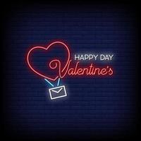 feliz día de san valentín letreros de neón estilo vector de texto