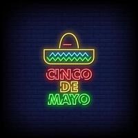 Cinco De Mayo Neon Signs Style Text Vector
