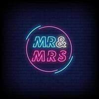 Sr. y Sra. letreros de neón estilo vector de texto