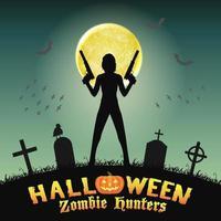 halloween zombie hunter with handgun in graveyard vector