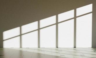 Interior wall with window illumination making hard shadows, 3d rendering photo