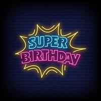 Super Birthday Neon Signs Style Text Vector