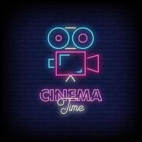 Cinema Time Neon Signs Style Text Vector
