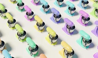 Pattern of kitchen mixers with different pastel colors on white background, 3d rendering photo