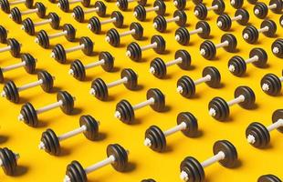 Pattern of dumbbells on yellow background with soft shadow, 3d render