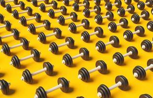 Patrón de pesas sobre fondo amarillo con sombra suave, 3D Render foto