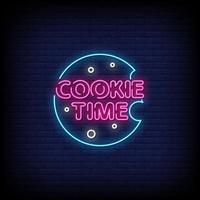 Cookie Time Neon Signs Style Text Vector