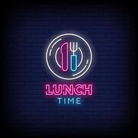 vector de texto de estilo de letreros de neón de la hora del almuerzo