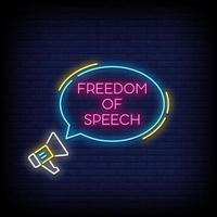 Freedom of Speech Neon Signs Style Text Vector
