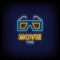 Movie Time Neon Signs Style Text Vector