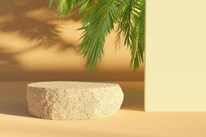 Flattened rock for product presentation with palm leaves peeking out and making shadows, 3d rendering photo
