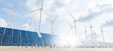 Solar panels and turbines with cloud sky and sun glint on the panels, 3d rendering photo