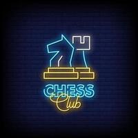 club de ajedrez letreros de neón estilo texto vector