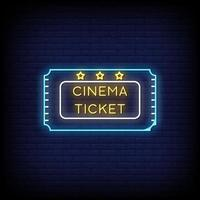 Cinema Ticket Neon Signs Style Text Vector