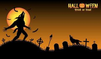 howling werewolf with halloween background vector