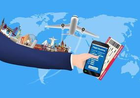 reserva en línea de smartphone con hito mundial vector