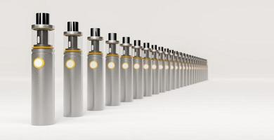 Line of silver electronic cigars with golden details, 3d rendering photo